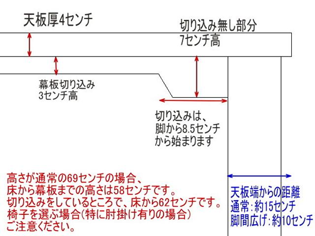 ヒノキダイニングテーブルTD 幕板切込みタイプ図